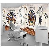 Mgdtt Tendance Peinte À La Main Barber Shop Fond Tissu Haute Qualité Coupe Cheveux Papier Peint Murale Photo Mur Coupe De Cheveux Salon De Beauté Salon De Coiffure Barber Ciseaux Hair Shop-280X200Cm...