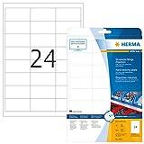 Herma 4691 Wetterfeste Folienetiketten (66 x 33,8 mm) weiß, 600 Aufkleber, 25 Blatt A4 Klebefolie matt, bedruckbar, selbstklebend
