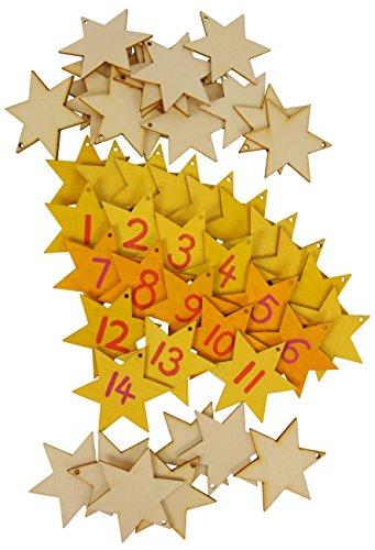 Holzanhänger Sterne 24 Stück, Holzanhänger Weihnachten, Holzanhänger Set 24 Holzsterne
