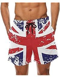 86caa70b43 DEYYA Mens Retro Union Jack UK Flag Summer Beach Shorts Pants 's Swim Trunks  Board