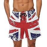 DEYYA Herren Retro Union Jack UK Flag Sommer-Strand-Kurzschluss-Hosen 's Badehose Boardshort für groß Multi