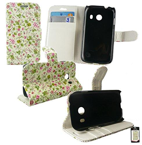 Emartbuy® Samsung Galaxy Ace Style SM-G310 Brieftaschen Wallet Etui Hülle Case Cover aus PU Leder Floral Rosa / Grün mit Kreditkartenfächern