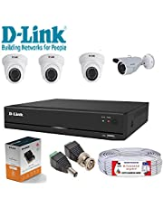 D-Link 4 Channel CCTV 1MP Kit 3 Dome & 1 Bullet with All Ac