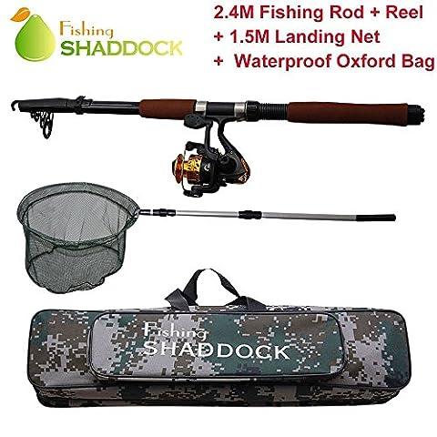 Shadock Fishing® Spinnrute und Spinnrolle sowie Tragetasche - tragbare Teleskop-Angelrute aus Kohlefaser mit Rolle zum Meeresangeln, für Salzwasser, Süßwasser - Set
