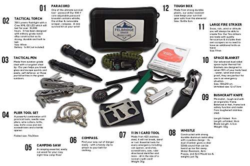 Imagen de felbridge green kits de supervivencia en emergencia con alicates plegables multitool y pulsera paracord | para acampar bushcraft militar y en sus aventuras al aire libre | 12 in 1 survival kit alternativa