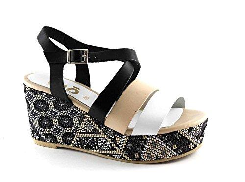 Grünland DIVE SA1567 cuir noir sandales compensées multi-bracelet femme Multicolore