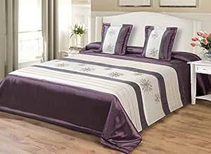 170x210 violett lila creme Tagesdecke Bettüberwurf mit Kissenbezügen 40x40 Satin 67668purple