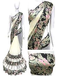 Shailaja Sarees Women's Printed Georgette Saree With Satin Patta With Maching Blouse Piece