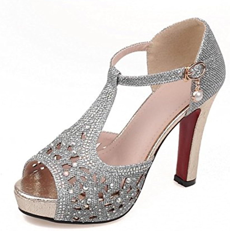 Zapatos de Mujer Sandalias de Tacón Alto Botas Impermeable Plataforma Hueco Sexy Zapatos de Boca de Pescado -