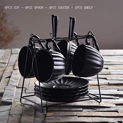 Erjialiu 160 ml schwarz Keramik Bone China büro kaffeetasse Geschmack Milch Tee Streifen bleifreien Becher mit untertasse löffel Regal kit,Stil C - China Untertasse