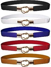 Cinturón Flaco de Mujeres Banda Elástica de Cintura Retro Correa Elástico  de Broche de Metal para ea98348254b9