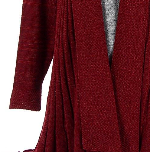 Charleselie94® - Gilet cardigan long plissé tricot bordeaux MIRAMAR BORDEAUX Bordeaux