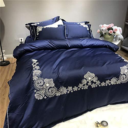 zlzty Seidenbettwäschesets doppelt, bestickte Seide vierteilige Satinseide Bettbezug, Einzelbettbezug, Kingsize-Bettwäscheset @ Navy Blue_2.0m Bettwäsche (Navy Kingsize Blue Bettbezug)