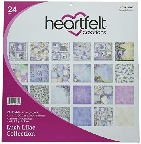 Heartfelt Creations HCDP1-287 Lot de 24 Blocs de Papier Double Face Lilas 30,5 x 30,5 cm