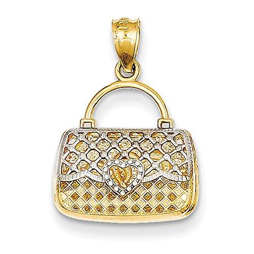14K Gelb Gold & Rhodium Reversible Herz Handtasche Anhänger D4174 (Handtasche 14k)