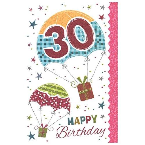 "Susy Card 40009728 Geburtstagskarte, 30. Geburtstag ""Fallschirm"", Maße: 17 x 11 x 0, 1 cm"