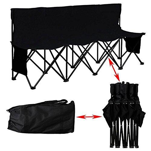 Yaheetech 4 sedie pieghevoli collegati da campeggio giardino con schienale e borsa da trasporto sedia portatile
