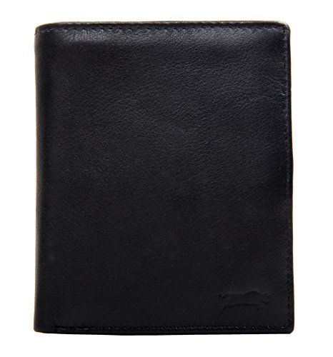 """SLINGBAG """"Finn"""" Geldbörse / Brieftasche aus echtem Leder in Hochformat / Farbauswahl (Schwarz) Schwarz"""