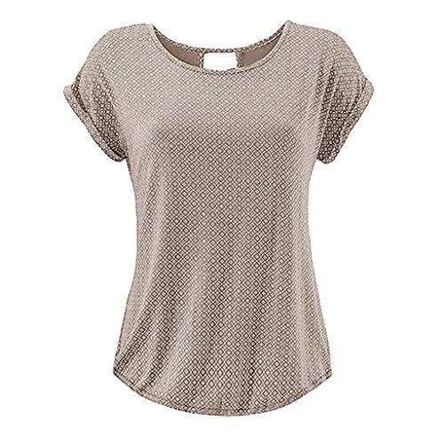 Yvelands Damen T-Shirt Rundhals Kurzarm Shirt mit Print Sommer Bluse Tops(Khaki1,M) Butterfly Womens Zip Hoodie