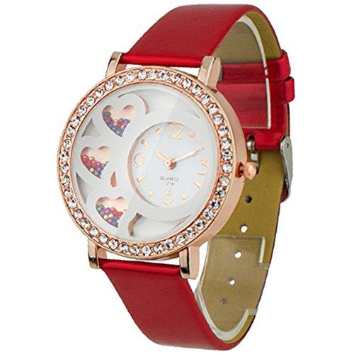 Nette Damen Uhr rundes Zifferblatt Analoge Uhr mit Strass und Kunsperlen Dekoration Rot