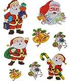 Unbekannt XL Wandtattoo Weihnachtsmann 8 tlg Set Wandsticker Aufkleber Weihnachten Glocke Weihnachtsbaum X-Mas - Weihnachten - Wandaufkleber - X-Mas - Fensterbilder Wei..