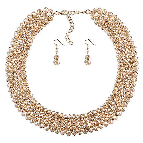 Damenschmuck-Set Elegante 5-lagige Halskette und Ohrring-Set aus Acrylperlenkragen Perfektes Zubehör für die Party (Farbe : Champagne)