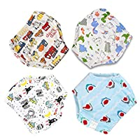 xinsupply Baby Underwear Potty Training Pants, 4pcs Reusable Toddlers Kids Potty Training Underpants 6 Layers Training Pants with Cute Design Unisex for 1.5-3 Years Baby (Multicolor)