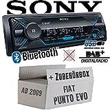 FIAT Punto Evo / 199 - Autoradio Radio Sony DSX-A510BD - DAB+   Bluetooth   MP3/USB - Einbauzubehör - Einbauset