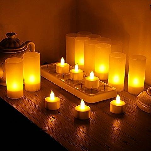 Fletion LED Flameless Teelicht Tragbare Wiederaufladbare 12 Teelichter Lampen mit Flackern Gelbe LED-Halter-Ladestation - Die letzten 10 bis 12 Stunden für Gärten Hochzeiten Partei Homedecoration Cafe-Shop Dekoration