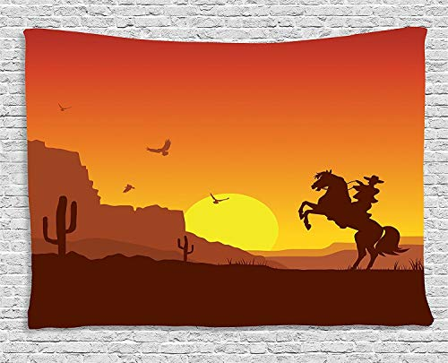 TRUIOKO Western Tapisserie, rican Wild West Desert with Cowboy on Horse Sunset Cactus Arid Lands, Wall Hanging for Bedroom Living Room Dorm Wall Tapisserie Decor, 80 W X 60 L Inches, Orange Yellow Bro