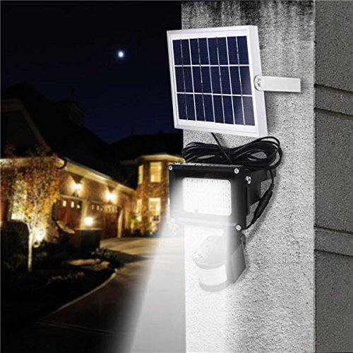 Global 54 LED Solar Sensor de movimiento Foco Luz Mando A Distancia Agua Densidad Seguridad – Lámpara de pared