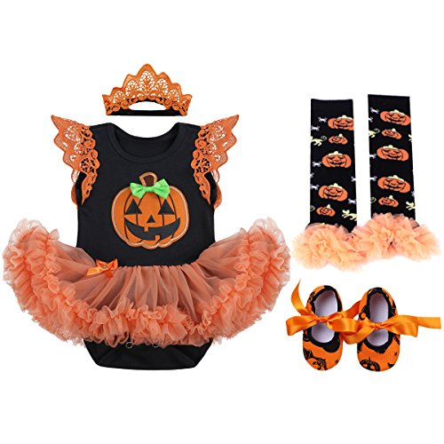OBEEII Baby Mädchen 1. Halloween Kostüm Kürbis Schädel Strampler Rüschen Tutu Rock mit Stirnband Beinwärmer Schuhe Weihnachten Cosplay Partei Kleid für Neugeborene Kleinkind 0-3 Monate