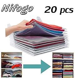 Nifogo Closet Organizer Drawer,tshirt organiser, Sweaters,Shirt, Closet Drawer Office Desk File Cabinet Organization (20Pcs)