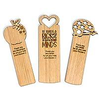 Personalised Teacher bookmark gift oak
