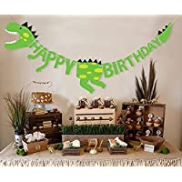 Veewon Dinosaur Happy Birthday Banner Garland Dinosaur Fossil Bunting Party Decoration Supplies
