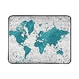 WOCNEMP Mapa ilustrado Mundo Muro de ladrillo Blanco Manta portátil y Plegable Estera de 60x78 Pulgadas Práctica Estera para Acampar Picnic Playa Viajes al Aire Libre en el Interior