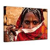 Kunstdruck - Indische Schönheit - 80x60 cm - Leinwandbilder - Bilder als Leinwanddruck - Wandbild von Bilderdepot24 - Städte & Kulturen - Indien - indische Frau mit Schleier