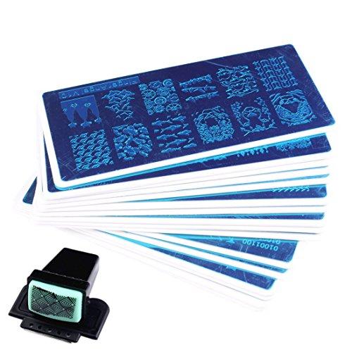 Finger Angel 16verschiedenen Design Nail Art Stamping Platten mit Weiß Halter Nail Vorlage + 1PCS quadratisch grün Gummi Stamper DIY Nail Art Bild Stempel Teller Maniküre Vorlage Nail Art Tools