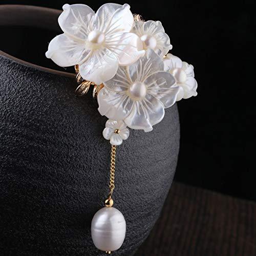 Lnyy Brosche natürlichen Schale Süßwasser Perle Brosche hochwertige Retro-Schal Brosche Pin Frau