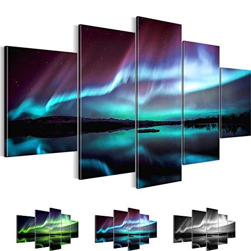 Bilder 200 x 100 cm - Polarlicht Bild - Vlies Leinwand - Kunstdrucke -Wandbild - XXL Format – mehrere Farben und Größen im Shop - Fertig Aufgespannt !!! 100% MADE IN GERMANY !!! - Island – Nacht 609151b