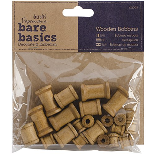 papermania-22-piece-bare-basics-wooden-bobbin-brown