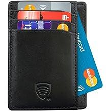 RFID Protezione antifurto RFID carte Portafoglio Sottile in Vera Pelle (B3)