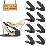 YOUGHALAGG Einstellbare Schuh Slots für Schuhregale und Schrank, 8 Stück Platzsparende Schuhstapler/Schuhhalter Set, Verstellbare Schuh Veranstalter - Kunststoff Schuh Organizer Space Saver (Schwarz)