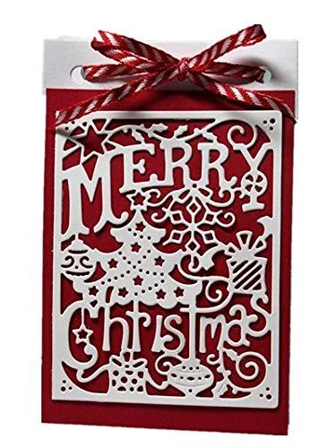 FEIDAjdzf Merry Christmas Stanzschablone für Scrapbooking, Dekoration, Prägeschablone, silberfarben (Bogen Dekoration Christmas)