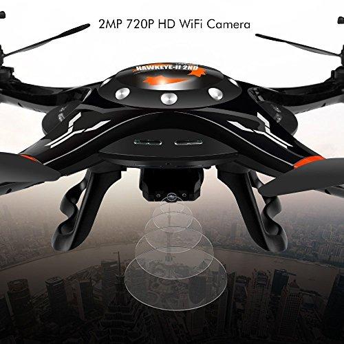 DBPOWER Upgraded FPV WiFi G-Sensor Control Hawkeye-II Quadcopter mit einem Schlüssel Abnahme & Landing-Funktion und 720p HD-Kamera