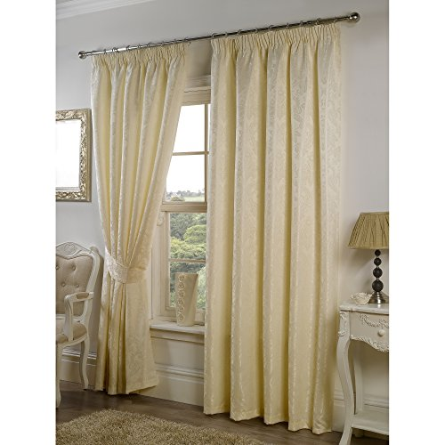 Seattle Ready Made Fully Lined Patterned Curtains (65 x 54 (166cm x 138cm)) (Cream)
