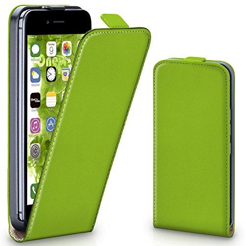 OneFlow Tasche für iPhone 7 Plus Hülle Cover mit Magnet | Flip Case Etui Handyhülle zum Aufklappen | Handytasche Handy Schutz Bumper Schutzhülle mit Schale in Hellgrün LIME-GREEN