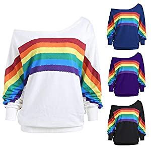 BaojunHT Women Rainbow Striped Jumper Sexy Off Shoulder Sweatshirt Loose Long Sleeve Blouse