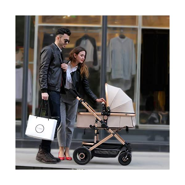 YSH Travel System Baby Stroller Pushchair High View Portable Baby Cart Suitable For Children From 0 To 36 Months /20KG,D-2 YSH Specifications - Stroller for children aged 0-3, standard load capacity 25 kg, maximum load capacity 50 kg, unfolded size 60 x 57 x 100 cm, folding size 80 x 50 x 62cm, net weight 8 kg Function - The stroller can take out the sleeping basket, fold easily, be smaller and easy to carry; adjustable backrest angle can sit or lie flat Features - Stroller can be folded quickly, capacity up to 50 kg / 110 lbs; with shock absorber system for smoother ride, adjustable backrest, comfortable ride, windproof, waterproof, all seasons 4