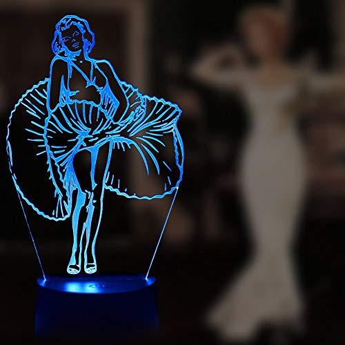 3D Lampe Marilyn Monroe Action Figure Led Nachtlicht Schlafzimmer Dekorative Lampe Rgb 7 Farben Kind Kinder Baby Geschenke Nachtlicht A-956